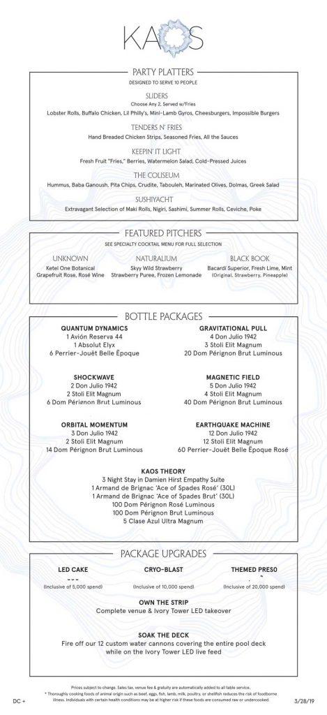 kaos pool party bottle service food menu
