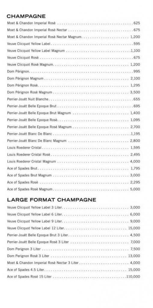 light nightclub bottle service menu