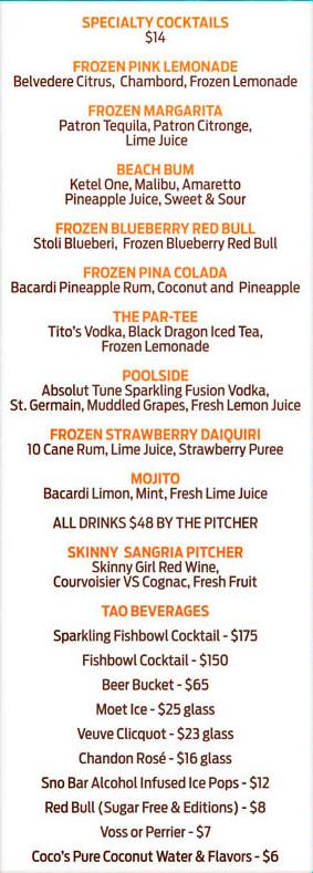 tao beachclub pool party bottle service menu