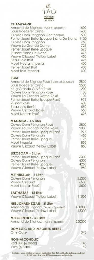 tao nightclub bottle service menu