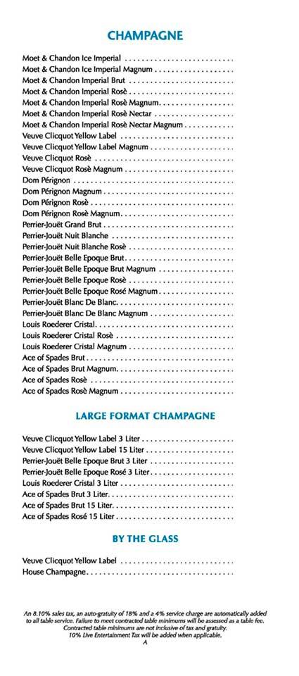wet republic pool party champaigne menu