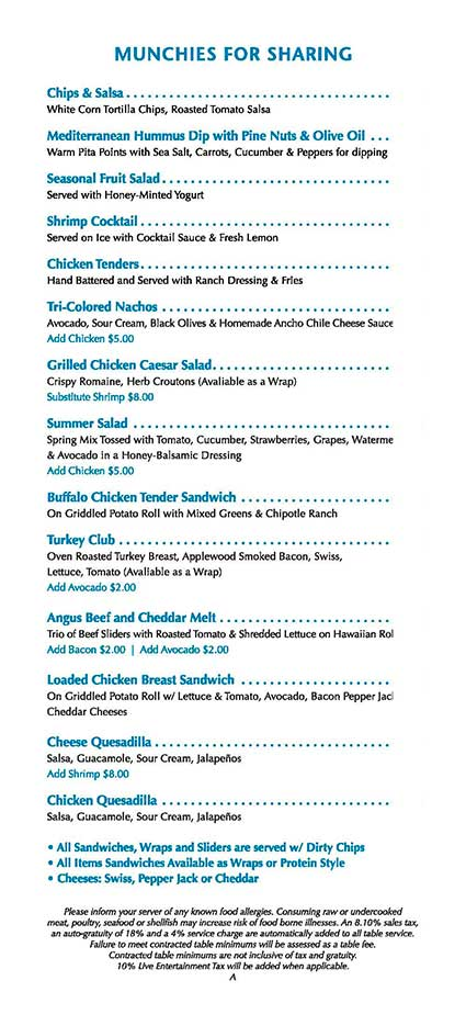 wet republic pool party food menu